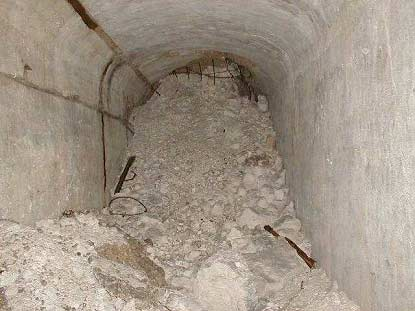 The scene inside the tunnel today, where the structure collapsed.
